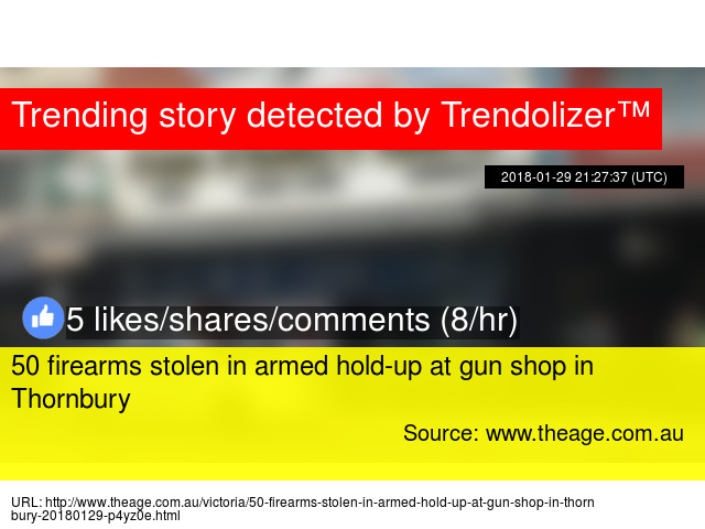 50 firearms stolen in armed hold-up at gun shop in Thornbury